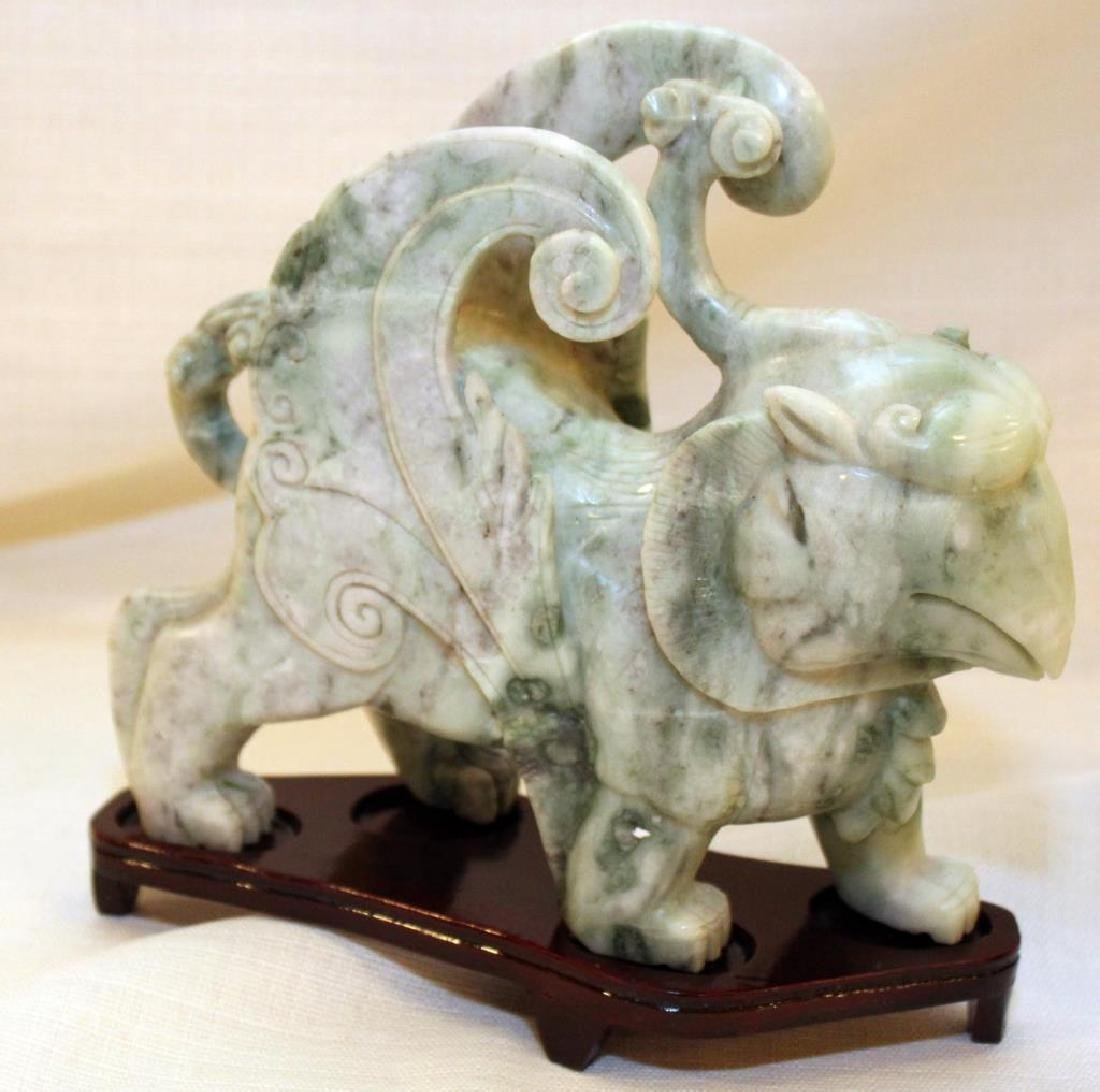pair Chinese carved Jade hardstone Tian lù Pixiu on - 2