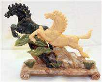 Chinese carved Jade hardstone horse grouping w/2