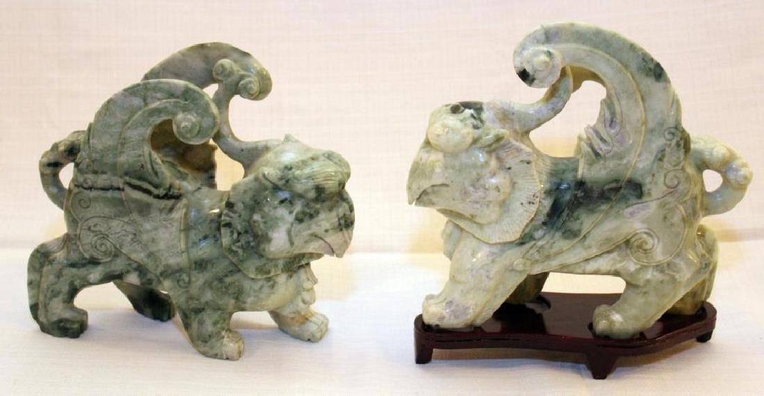 pair Chinese carved Jade hardstone Tian lù Pixiu on
