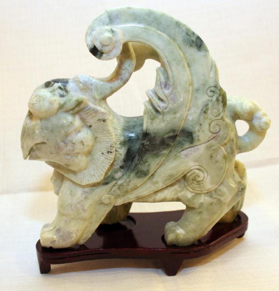 pair Chinese carved Jade hardstone Tian lù Pixiu on - 3