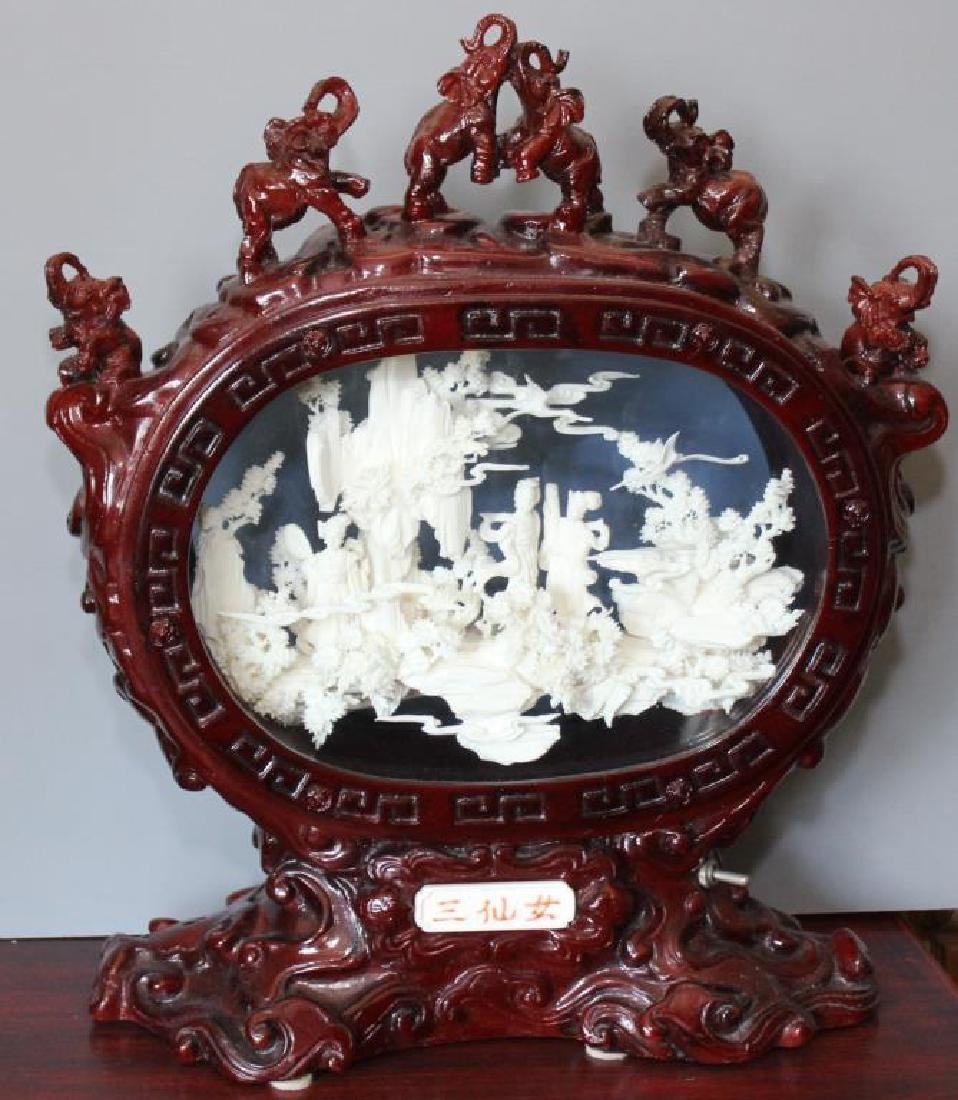 Chinese carved and veneered bone diorama figural group