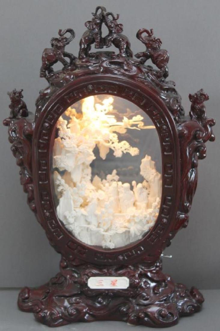 Chinese carved and veneered bone diorama with