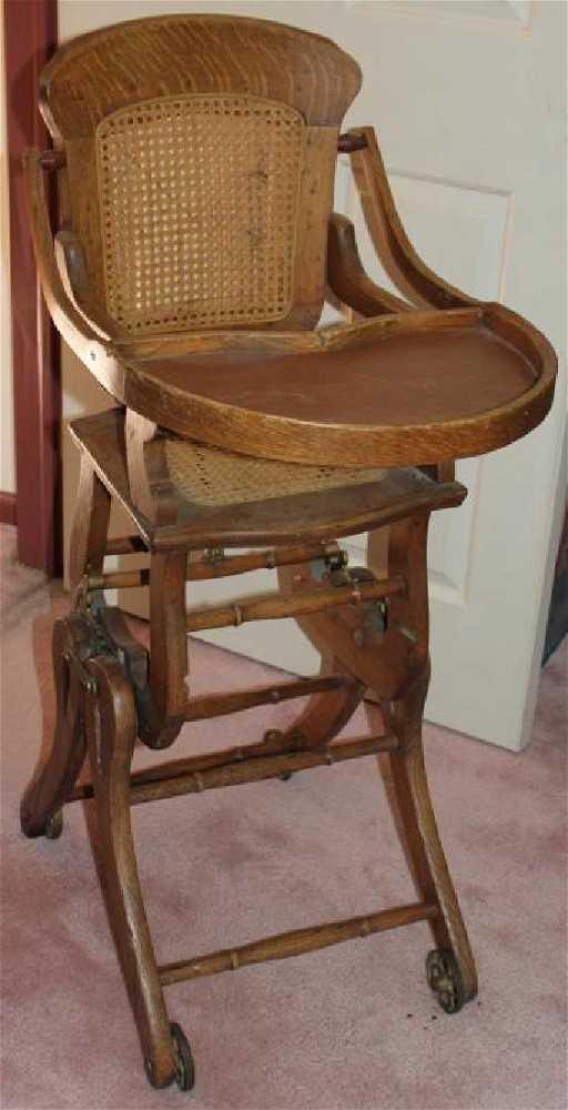 - Antique Converting High Chair/rocker On Wheels, Oak