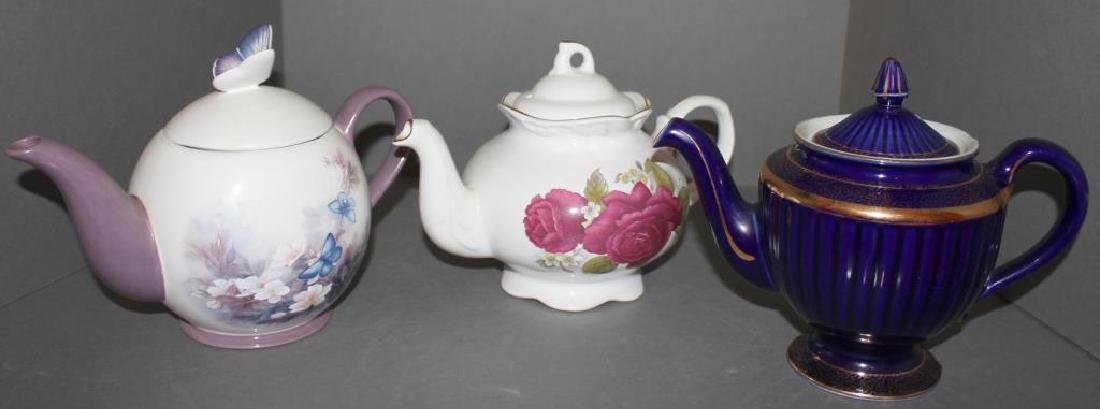 3 teapots- Cobalt blue Hall 8 cup; Arthur Wood & Son,
