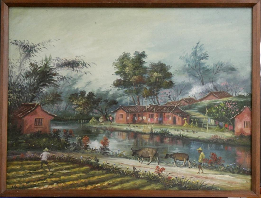 Southeast Asia farm scene, oil on canvas,
