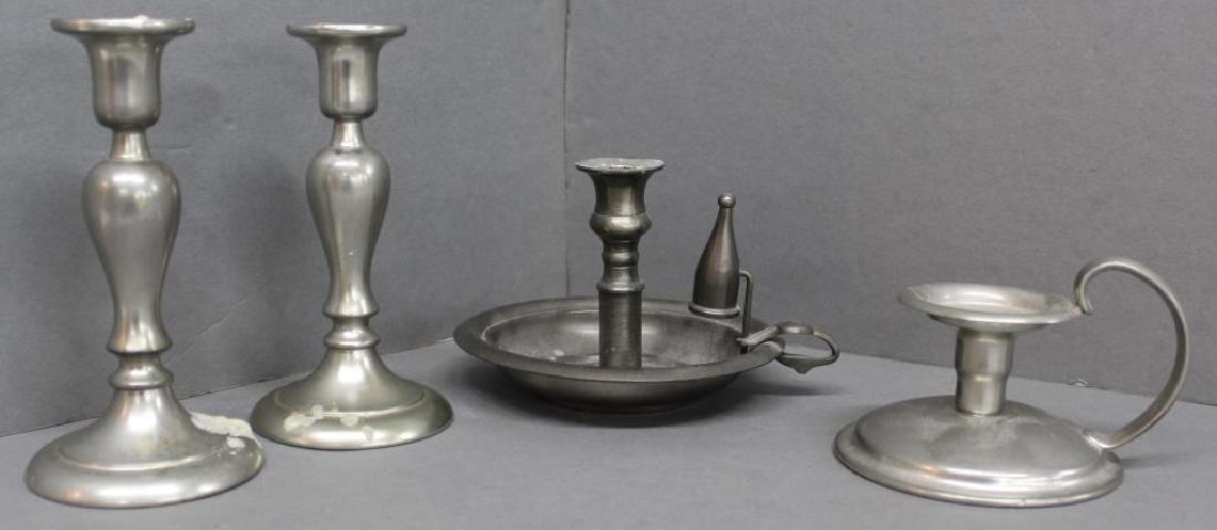 "(4) Pewter candlesticks - pair 7"" Royal Holland, made"