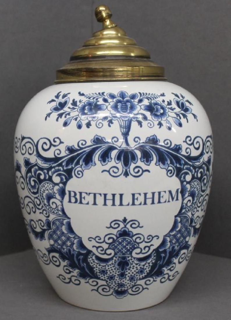 "Delft ""Bethlehem"" covered jar, base 4.5"" diam x 12"""