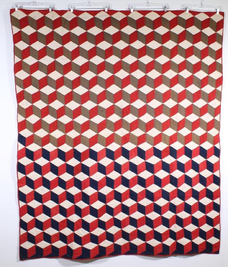 "Quilt - Tumbling Block, 67.5"" x 82.5"""
