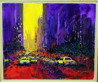 "Kerry Hallam ""New York Evening"" mixed medium on canvas,"