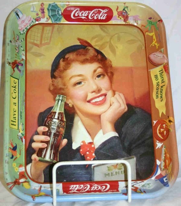 409: Coca-Cola Lady Portrait Advertising Tray