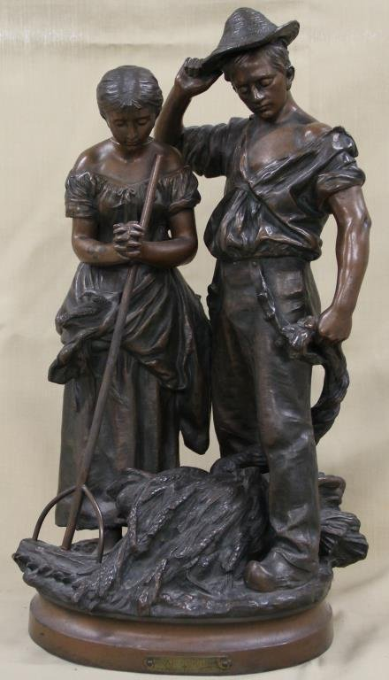 """Angelus"" cast metal statue, Made in France,"