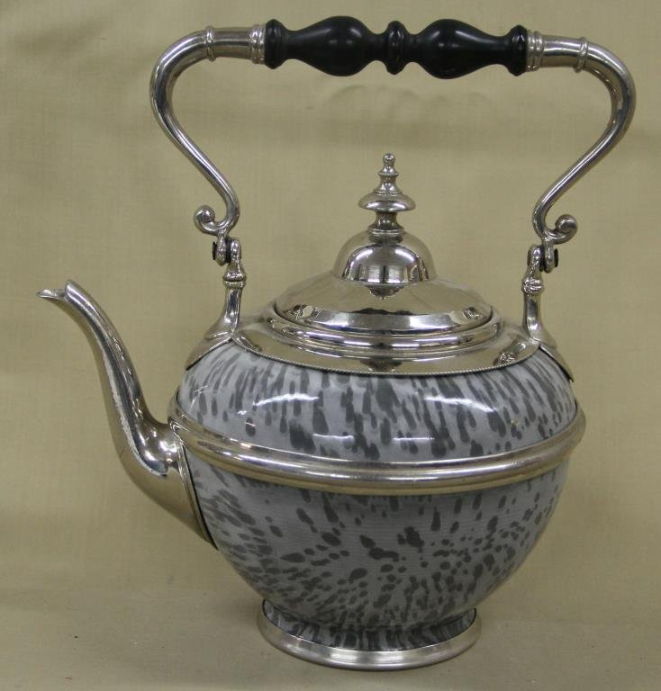gray agate teapot with polished pewter mounts,