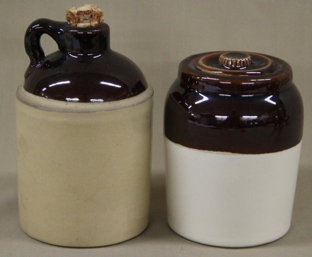 "miniature brown top crock with lid 4"" high;"