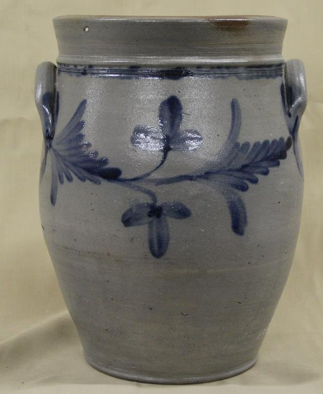 """blue decorated ovoid crock with """"Ears"""", 12.5"""" high"""