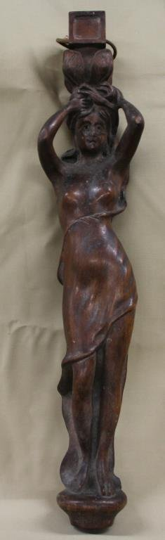 """carved wooden lady (was furniture leg) 23"""""""