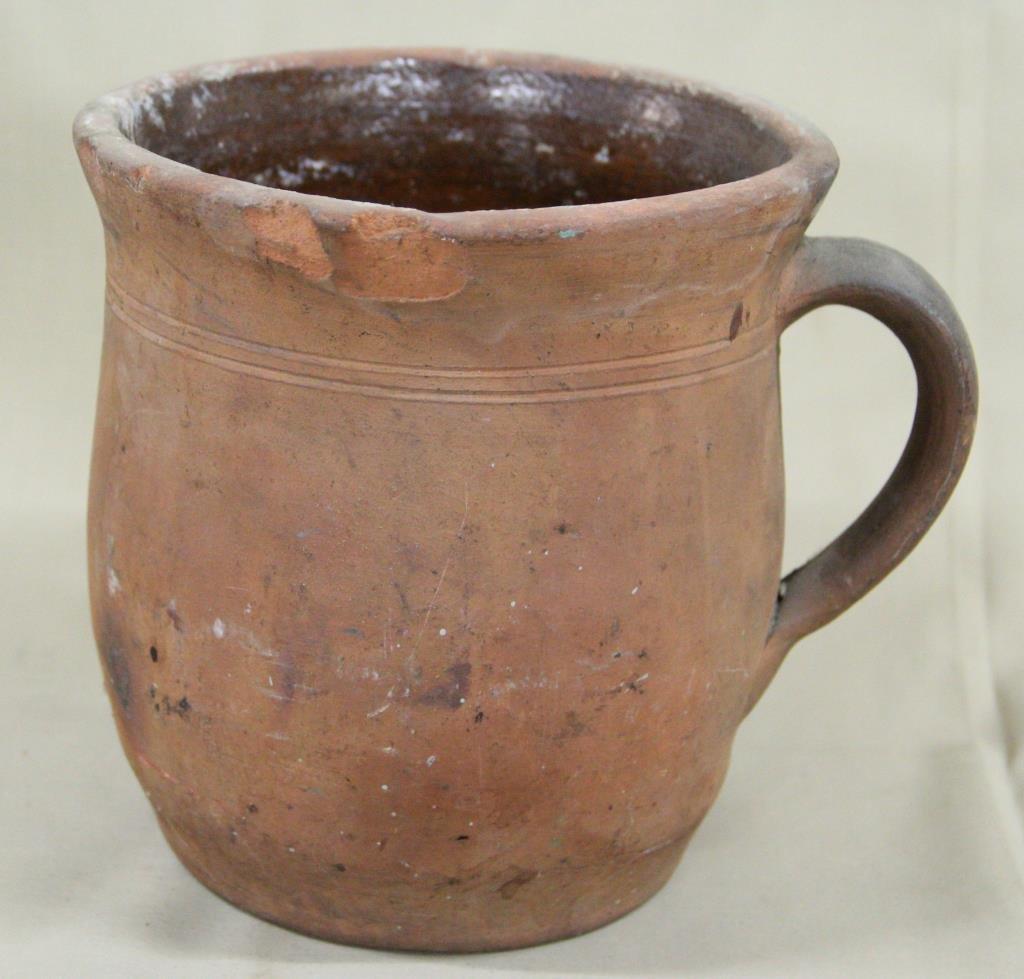 "redware crock with handle, interior glaze, 7.5"""