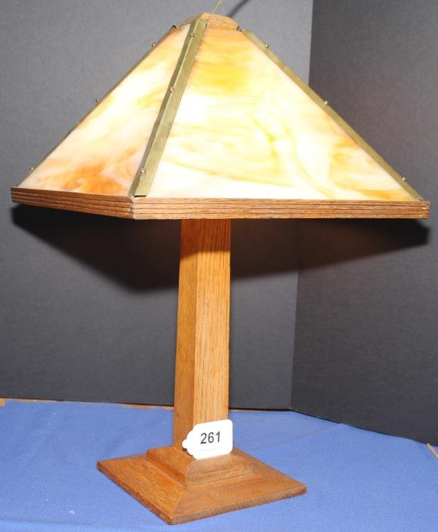 square oak table lamp with caramel slag glass