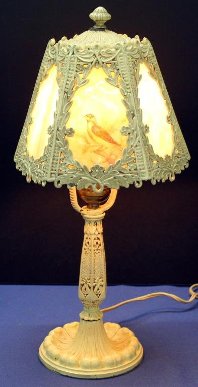 caramel slag glass dresser lamp