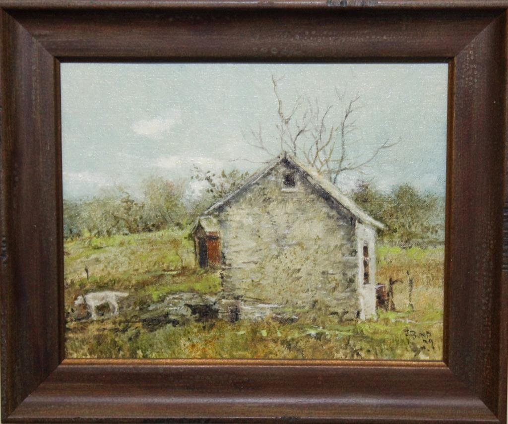 """stone barn painting """"The Old Barn on the"""