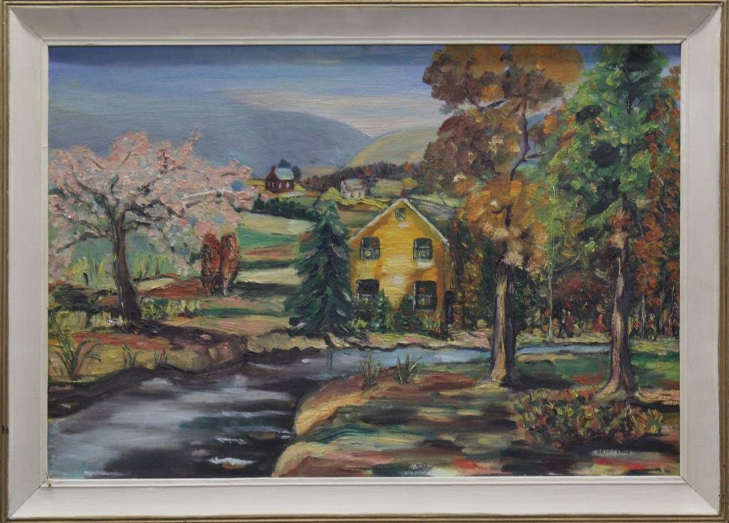 """oil painting country landscape, 21""""x29.5"""" overall"""