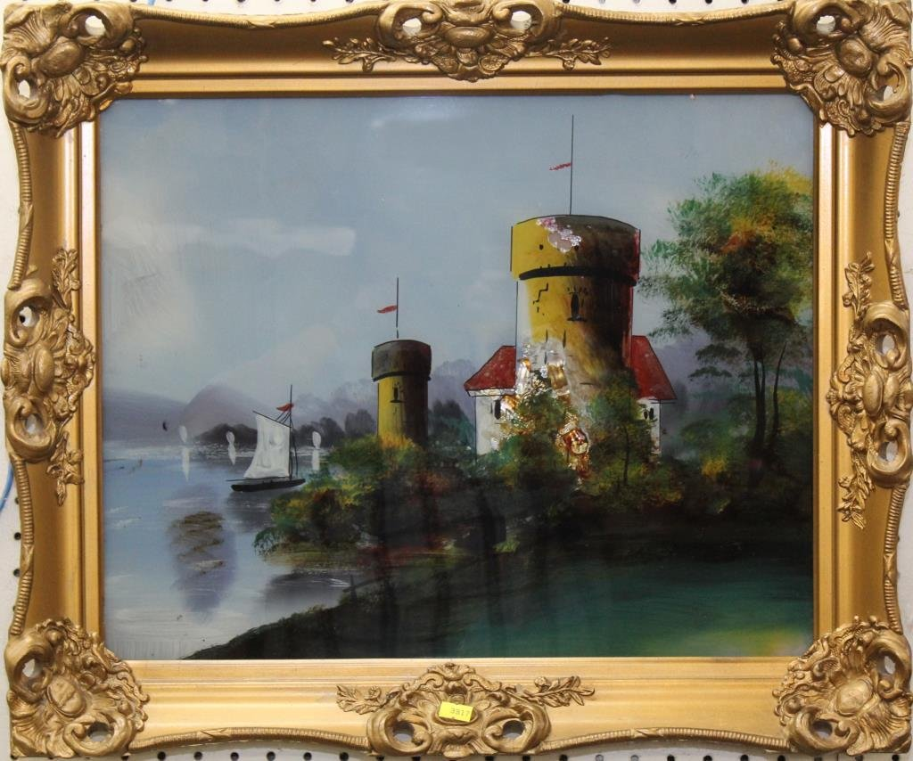 """reverse painting castle on lake, 20""""x24"""" overall"""