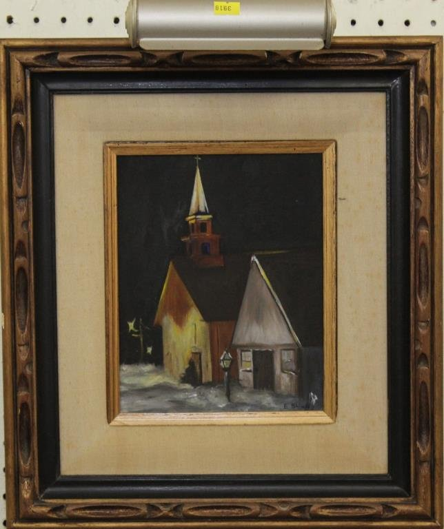 """oil painting church painting, 17.5""""x16"""" overall"""