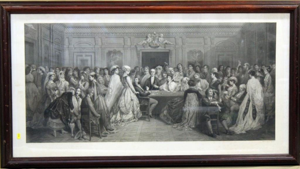 framed engraving, A Gambling Party, painted by