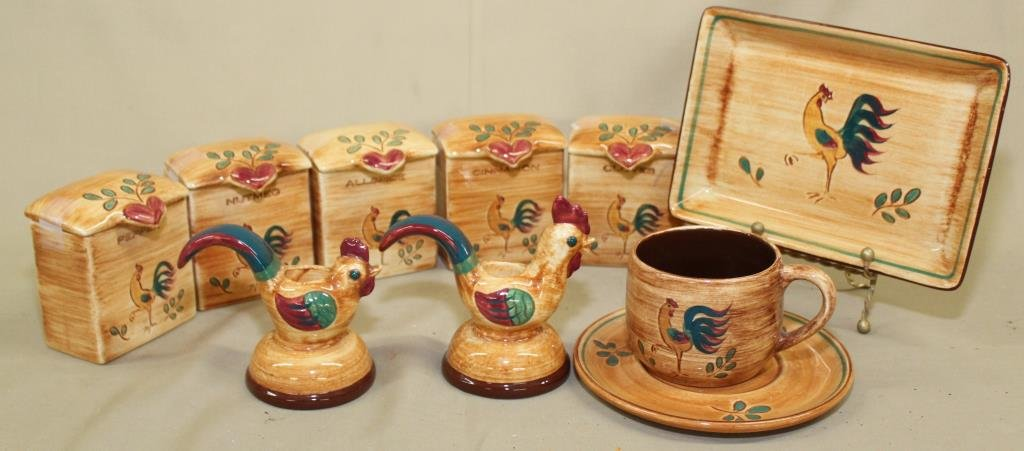 Pennsburg Pottery rooster tray, 5 spice canisters