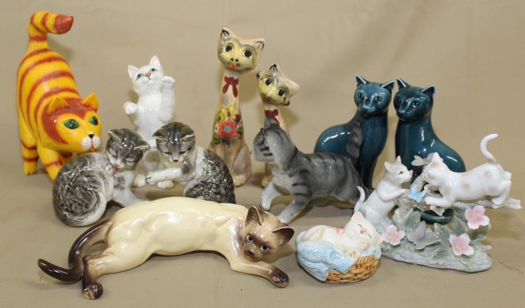 tray lot (12) ceramic & paper cat figurines,