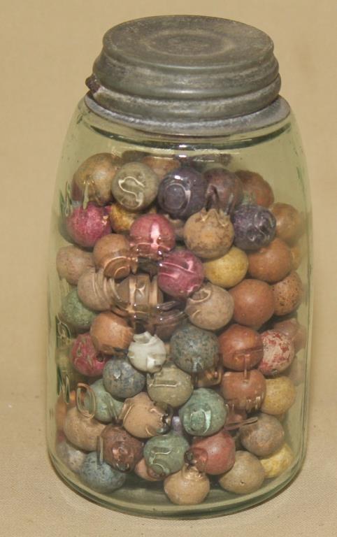 Mason's 1858 pint jar with clay marbles