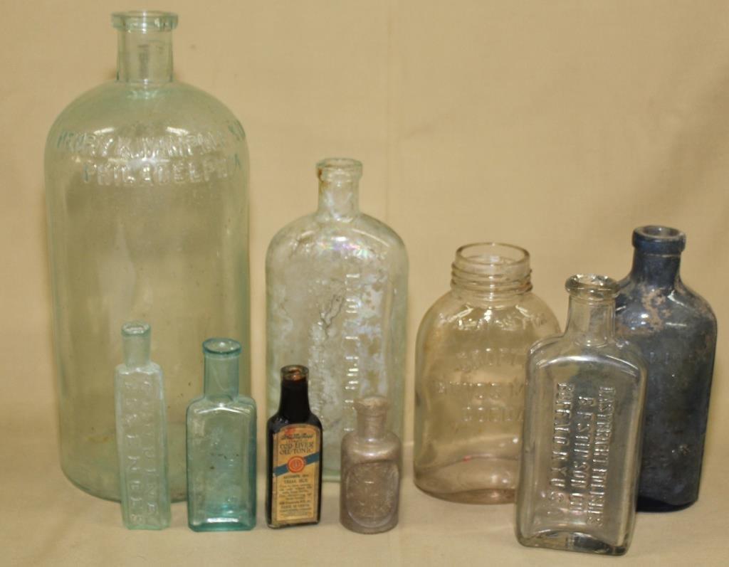 9 medicine and other bottles