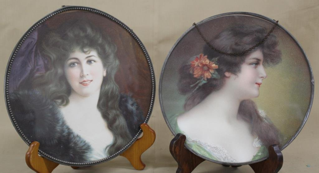 2 Lady Portrait rd. stove pipe hole covers, 9.75""