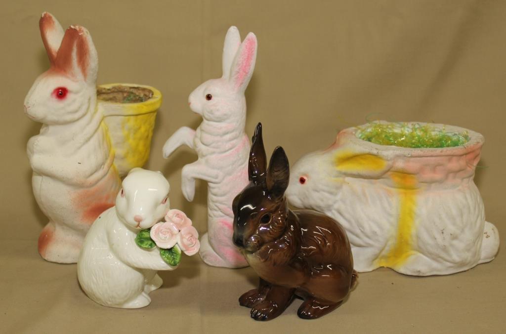 "3 paper mache rabbits to 9"" high(1 German),"