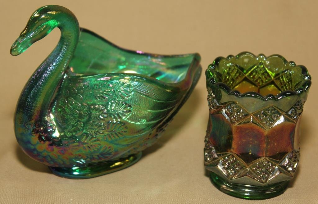 Imperial Glass Carnival toothpick holder, Fenton