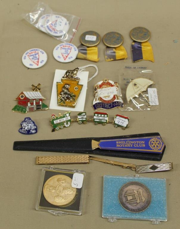 5 Lion's Club pins, Rotary letter opener,