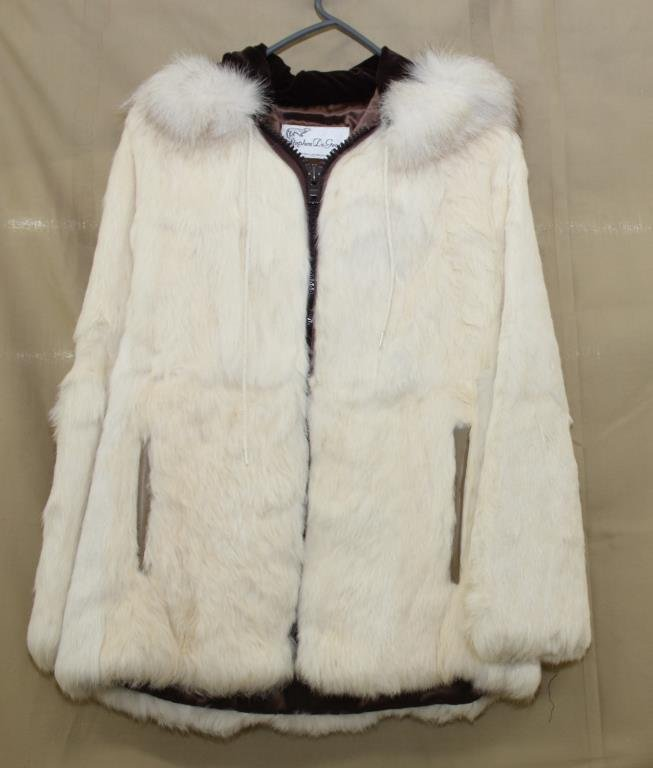 white rabbit zipper jacket with hood