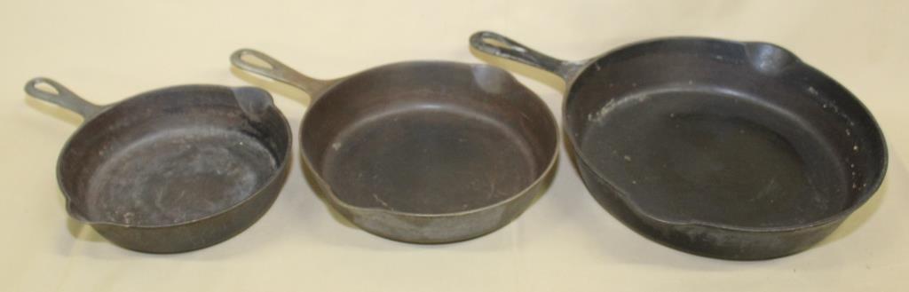 3 Griswold cast iron skillets, No. 5, No. 6 &