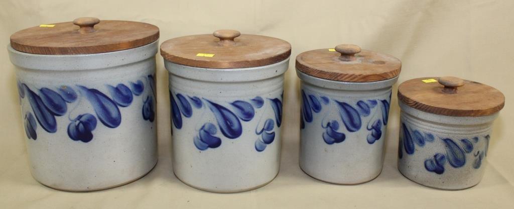 set of 4 graduated blue decorated salt glaze