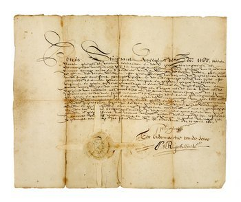 2A: Land deed signed by Peter Stuyvesant