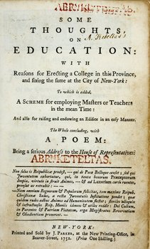 4A: 1752 imprint re: Columbia University