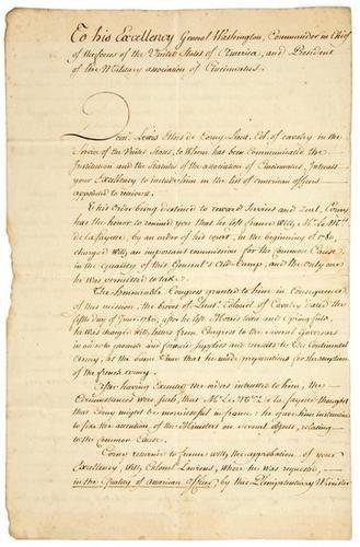 9A: Letter to George Washington Society of Cincinnati