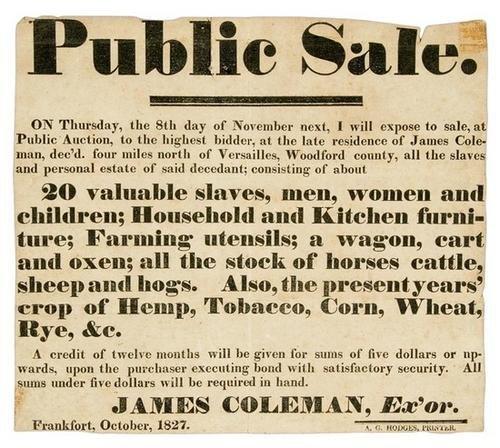 1C: Slave Sale Broadside