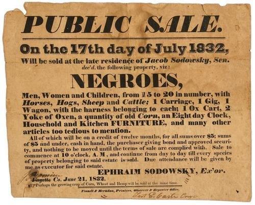 2C: Slave Sale Broadside