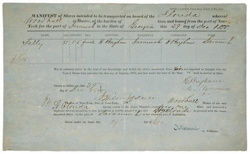 13C: Partly printed slave manifest