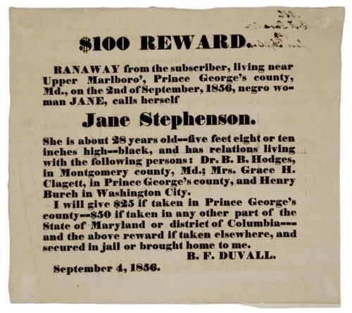 14C: Fugitive Slave Broadside 1856