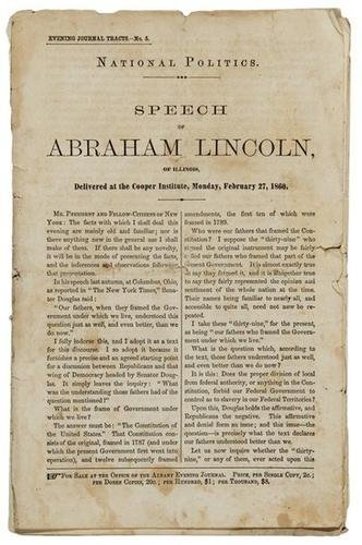 19C: LINCOLN. Early printing of the Cooper Union addres