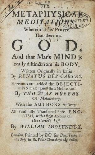 92B: Descartes  Six Metaphysical Meditations 1680
