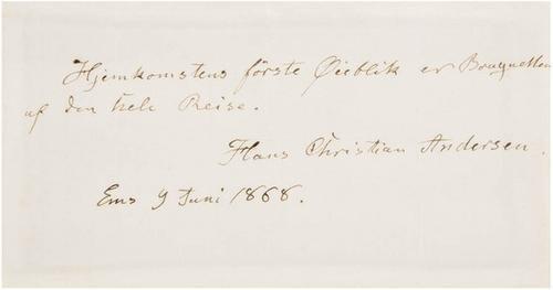2B: ANDERSEN, Hans Christian. Autograph