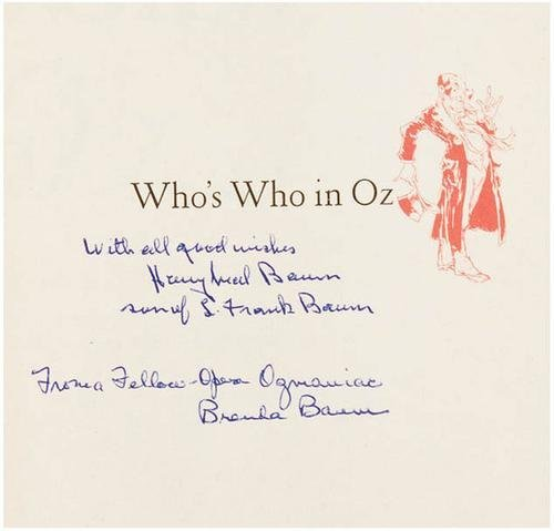 19B: SNOW Jack Who's Who in Oz SIGNED