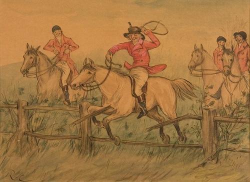 23B: CALDECOTT Fox Hunt Watercolor Signed